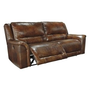 Jayron Leather 2 Seat Reclining Sofa in Harness