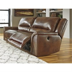 Ashley Jayron Leather 2 Seat Power Reclining Sofa in Harness