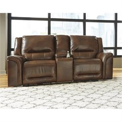 Ashley Jayron Leather Double Reclining Console Loveseat in Harness