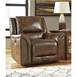 Ashley Jayron Leather Power Rocker Recliner in Harness