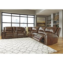 Ashley Jayron 3 Piece Leather Reclining Sectional in Harness