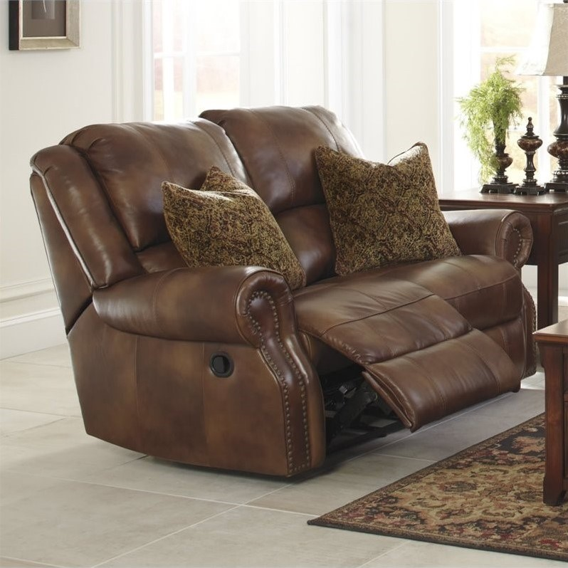 Ashley Walworth Leather Power Reclining Loveseat In Auburn