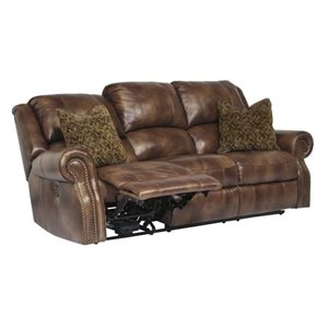 Walworth Leather Reclining Sofa in Auburn