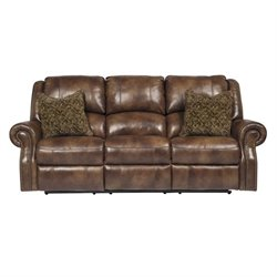 Ashley Furniture Walworth Leather Reclining Sofa in Auburn
