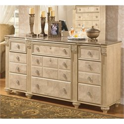 Ashley Saveaha 9 Drawer Wood Triple Dresser in Beige
