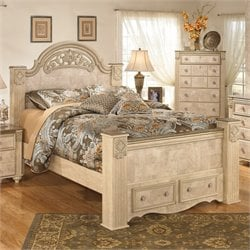 Ashley Saveaha Wood Queen Panel Drawer Bed in Beige