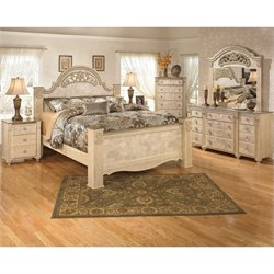 Saveaha 6 Piece Wood King Bedroom Set in Beige