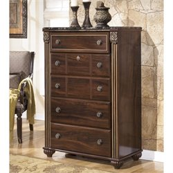Ashley Gabriela 5 Drawer Wood Chest in Brown