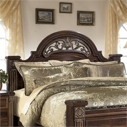Ashley Gabriela Wood Queen Poster Panel Headboard in Brown