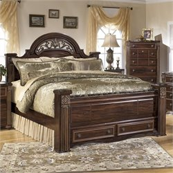 Ashley Gabriela Wood Queen Panel Drawer Bed in Brown