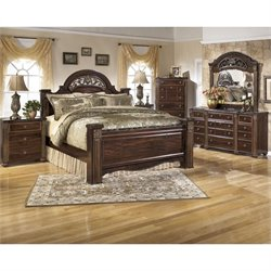Gabriela 6 Piece Wood Panel Bedroom Set in Brown