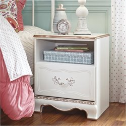 Ashley Korabella 1 Drawer Wood Nightstand in White