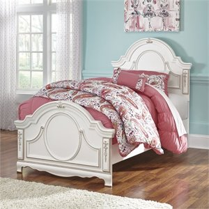 Korabella Wood Panel Bed in White