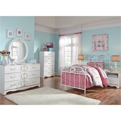 Ashley Korabella 6 Piece Metal Twin Bedroom Set in White