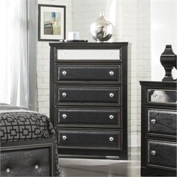 Ashley Alamadyre 5 Drawer Faux Leather Chest in Black