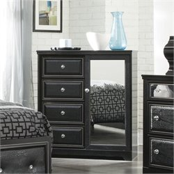 Ashley Alamadyre 4 Drawer Faux Leather Door Chest in Black