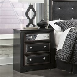 Ashley Alamadyre 3 Drawer Faux Leather Nightstand in Black