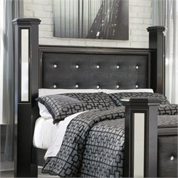 Ashley Alamadyre Faux Leather Queen Poster Panel Headboard in Black