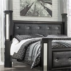 Ashley Alamadyre Faux Leather King Poster Panel Headboard in Black