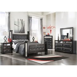 Alamadyre 6 Piece Faux Leather Poster Panel Bedroom Set (Drawer Chest)