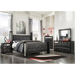 Ashley Alamadyre 6 Piece Faux Leather King Poster Panel Bedroom Set
