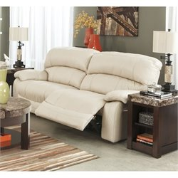 Ashley Damacio Leather 2 Seat Power Reclining Sofa in Cream
