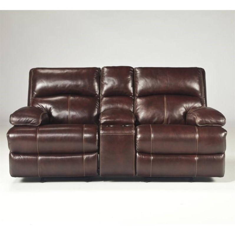 Ashley lensar leather power reclining console loveseat in burgundy u9900091 Burgundy leather loveseat