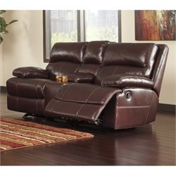 Ashley Lensar Leather Power Reclining Console Loveseat in Burgundy