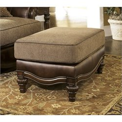 Ashley Claremore Faux Leather Ottoman in Antique