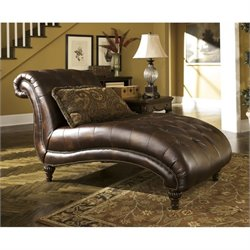 Ashley Claremore Faux Leather Chaise in Antique