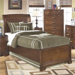 Ashley Alea Wood Twin Sleigh Bed in Brown