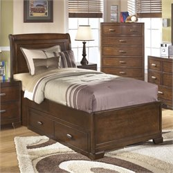 Ashley Alea Wood Twin Sleigh Drawer Bed in Brown