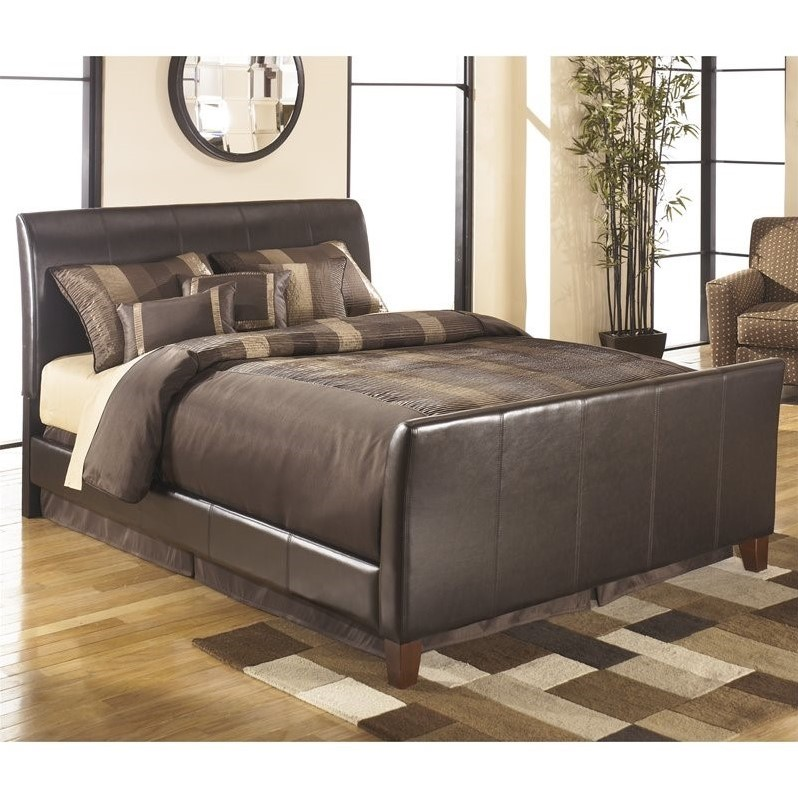 Ashley Stanwick Leather Upholstered Queen Bed In Brown