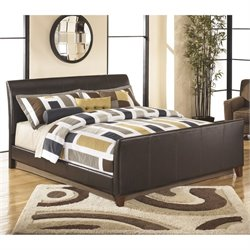 Ashley Stanwick Leather Upholstered California King Bed in Brown