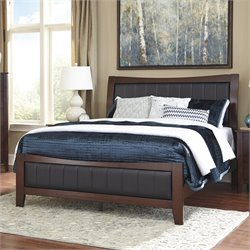 Ashley Dirmack Wood Queen Leather Panel Bed in Brown