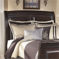 Ashley Ridgley Wood Queen Sleigh Panel Headboard in Dark Brown