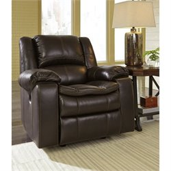 Ashley Long Knight Faux Leather Rocker Recliner in Brown