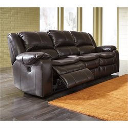 Ashley Long Knight Faux Leather Power Reclining Sofa in Brown