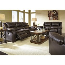 Ashley Long Knight 3 Piece Reclining Sofa Set in Brown