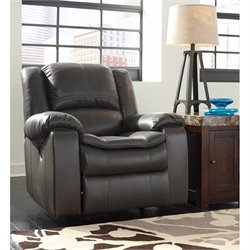 Ashley Long Knight Faux Leather Rocker Recliner in Gray