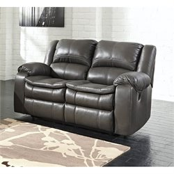 Ashley Long Knight Faux Leather Reclining Loveseat in Gray
