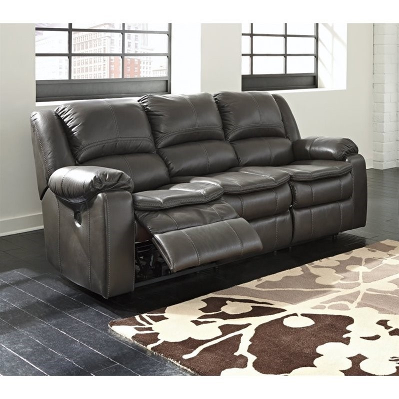 Ashley Long Knight Faux Leather Reclining Sofa In Gray
