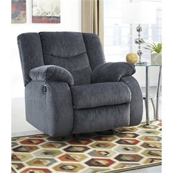 Ashley Garek Fabric Rocker Recliner in Blue