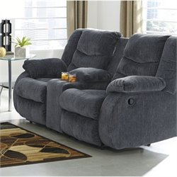 Ashley Garek Fabric Double Reclining Console Loveseat in Blue