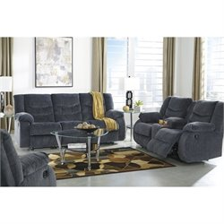 Ashley Garek 3 Piece Fabric Reclining Sofa Set in Blue