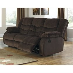 Ashley Garek Fabric Reclining Sofa in Cocoa