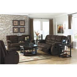 Ashley Garek 3 Piece Fabric Reclining Sofa Set in Cocoa