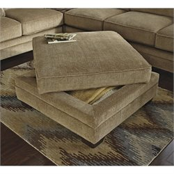 Ashley Lonsdale Fabric Storage Ottoman in Barley