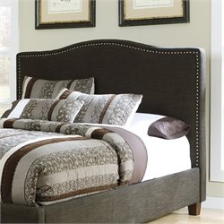 Ashley Kasidon Fabric Upholstered Queen Nailhead Headboard in Brown