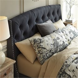 Ashley Kasidon Fabric Upholstered Queen Tufted Headboard in Gray